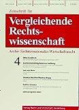 Zeitschrift für Vergleichende Rechtswissenschaft (ZVglRWiss) [Jahresabo]