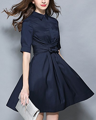 Robe de Cocktail Soiree Formelle Prom Party Bal Robes Manches Courte Navy