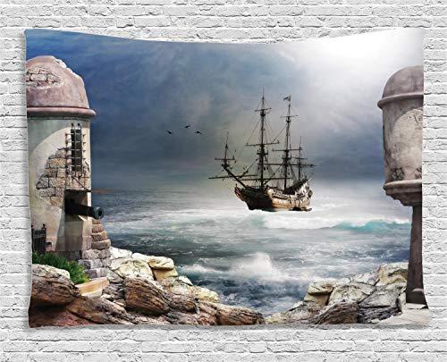 (ABAKUHAUS Ozean Wandteppich, EIN Piraten-Handelsschiff, Wohnzimmer Schlafzimmer Heim Seidiges Satin Wandteppich, 200 x 150 cm, Beige)