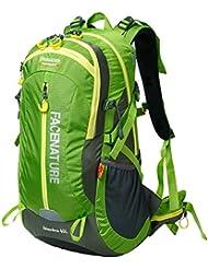 facenature Deportes al aire libre Senderismo impermeable mochila Daypacks Montañismo bolso 40L 50L viaje mochila de senderismo (con cubierta de lluvia, mujer hombre Infantil, F30601, verde