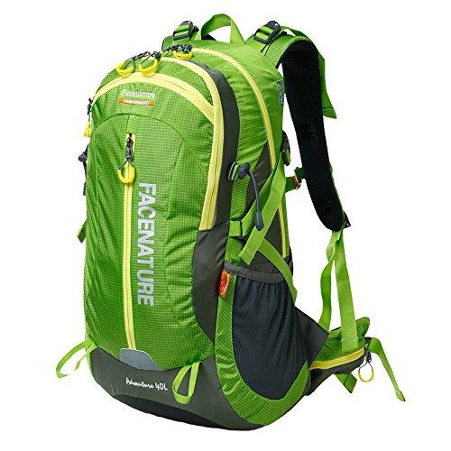 Imagen de  deportiva facenature para aire libre, campamento, caminata, liviana y resistente de 40l o 50l, con cobertor para lluvia, mujer hombre infantil, f30601, verde