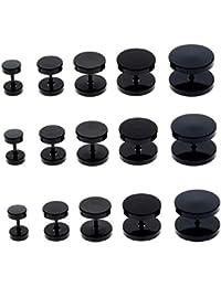 ILOVEDIY 3 Paare Edelstahl mini Ohrstecker allergiefrei schwarze Ohrringe für Männer und Frauen Durchmesser 3-14mm