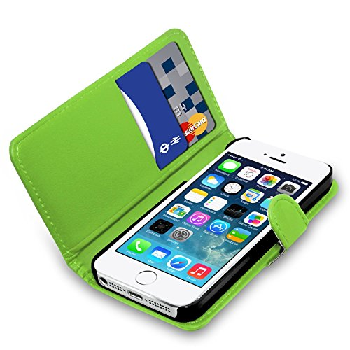 Apple iPhone 7 - Ledertasche Flip Case Cover Tasche +Touch Stylus Pen + Screen Protector & Poliertuch ( Schwarz ) Green