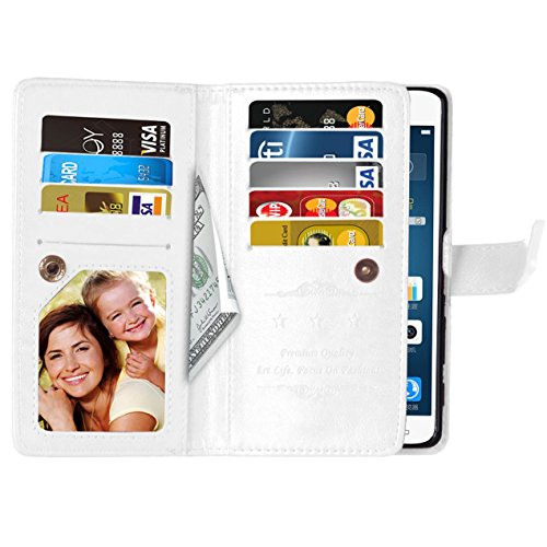 Flip LG X Power Case Folio Case Solid Farbe Premium Synthetik-Leder-Kasten-Standplatz-Mappen-Kasten-Kasten mit 9 Karten-Bargeld-Slots für LG X Power ( Color : Pink , Size : LG X POWER ) White