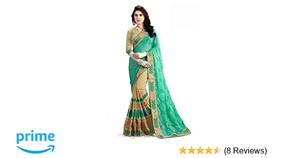 de86ef4a507696 MANSVI FASHION Women's Georgette Saree with Blouse Piece (Green, Free  Size): Amazon.in: Clothing & Accessories