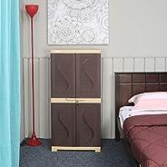 Nilkamal Freedom Mini Medium Style (FMM) Plastic Storage Cabinet (Weather Brown & Biscuit Br