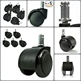 #6: Bellveen Chair Wheel for Universal Standard Size Revolving Chairs Thread Pin Type-(5 Pieces)