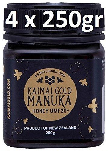 KAIMAI GOLD MANUKA HONIG / MIEL DE MANUKA (MGO ≥ 829 =) UMF® 20+ 1000gr (= 4 x 250gr) / UMF® = DAS EINZIGE OFFIZIELLE QUALITÄTSSIEGEL