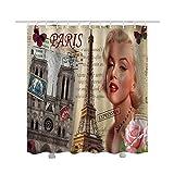 saknn-da Duschvorhang 1 STÜCK Vintage Style Vorhang Polyester Klassische Wasserdichte Duschvorhang Haken Für Badezimmer Dekoration Familie