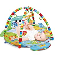 Meero London HE0610 New Born Baby Play mat Gym with Large Key Board 4 in 1 Kick & Play Activity Centre, Fun Animals, Music, Sound, Textures, Rattle, Discovery Carpet for Infants Toddlers, 0-36 Months