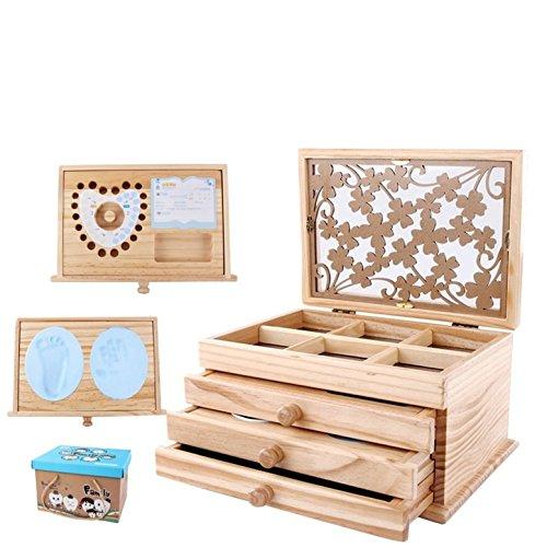 CHSEEA Babygeschenke für Andenken und Erinnerungen, Baby Erinnerungsboxen Keepsake Aufbewahrungsbox für Baby Handabdruck und Fußabdruck, Fotoalbum, erstes Souvenir, Milchzähne und Haare (Erinnerung Baby-dusche)