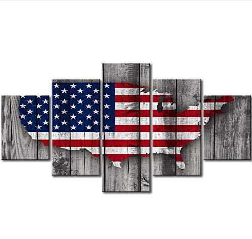 sxkdyax Kein Rahmen Retro USA amerikanische Flagge US Karte militärische Leinwand Wand Kunst Vintage dünne Blaue Linie Home Decor Bilder großes Plakat - Der Karte Usa-wand-kunst