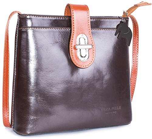 Borsetta piccola a tracolla in vera pelle italiana di Big Handbag Shop Coffee - Tan Trim (BR483)