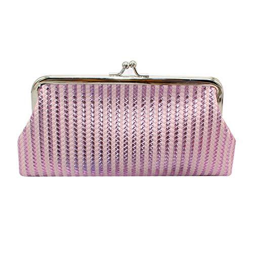 RQWY Geldbörse Mode Frauen Braid Stripe Laser Geldbörse Kosmetiktasche Kiss Lock Clutch -