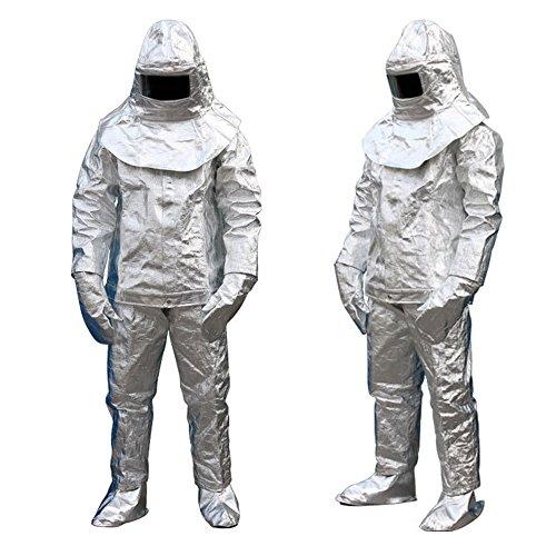 feuerfeste kleidung HUKOER Aluminiumfolie 1000 Grad hitzebeständig strahlung beweis entzünden verzögern anzug Voller satz (185-195 cm)