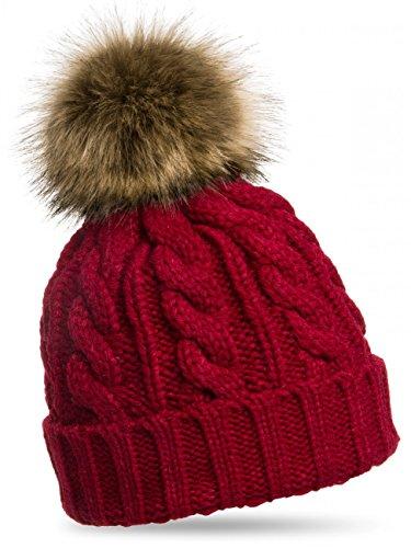 CASPAR MU104 Damen Mütze/Strickmütze mit Fellbommel, Farbe:weinrot;Größe:One Size