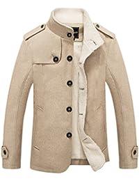 Manteau Homme Trench-Coat Hiver Chaud Parka Veste Court en Faux Fourrure  Slim Fit Casual feb76b28546c