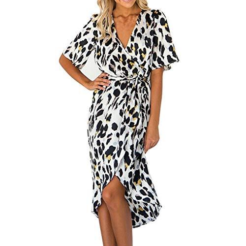 TUDUZ Mujer Vestidos Largos De Tiras con Estampado De Leopardo Vestidos, XL