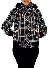 Freche Damen Karojacke mit abnehmbarer Kapuze und einem trendigen Stehkragen Gr.: M - XXXL