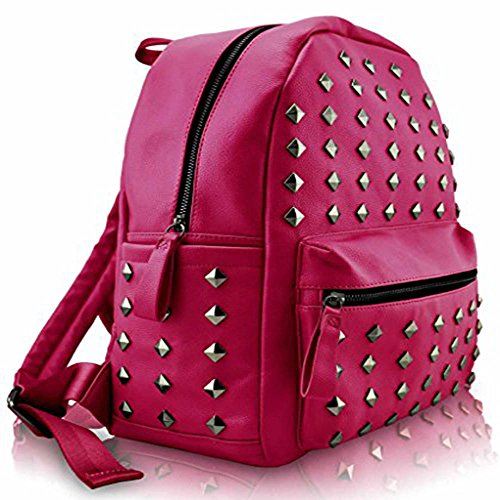 Trendstar Greeniris Ladies Fashion Zaino In Ecopelle Per Donne / Adolescenti Fucsia