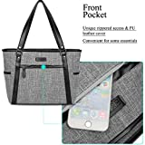 Laptop Tote Bag, BRINCH Classic Nylon Zip Work Tote Bag Shopping Duffel Bag Carry Travel Business Briefcase Shoulder Handbag For Up to 15.6 Inch Laptop / Notebook / MacBook / Tablet,Grey