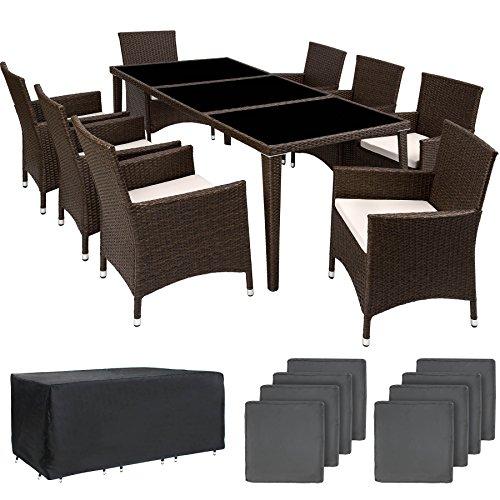 TecTake Salon de jardin en aluminium résine tressée poly rotin table | 8 fauteuils | Deux set de housses + habillage pluie inclus | -diverses couleurs au choix- (Antique marron | No. 401989)
