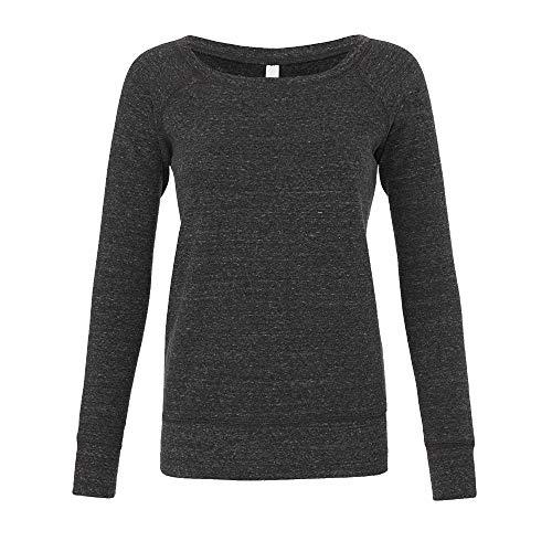 Bella - Mia Slouchy Wideneck Sweatshirt / Charcoal Triblend, M M,Charcoal Triblend