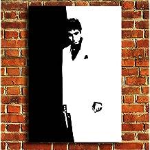 """Scarface blanco y negro Retro TV Film Película lienzo enmarcado pared Art print imagen Póster pequeño mediano y grande, negro/blanco, 20""""X12"""" (50X30CM)"""