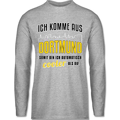 Shirtracer Städte - Ich Komme Aus Dortmund - Herren Langarmshirt Grau Meliert