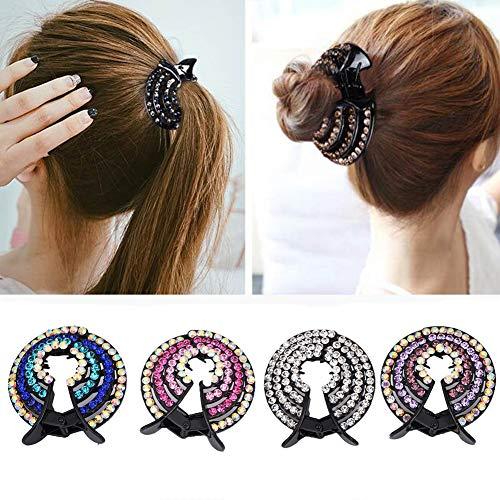 Extension per capelli, Girls Hair clips pins donne cristallo Tornante capelli coda di...