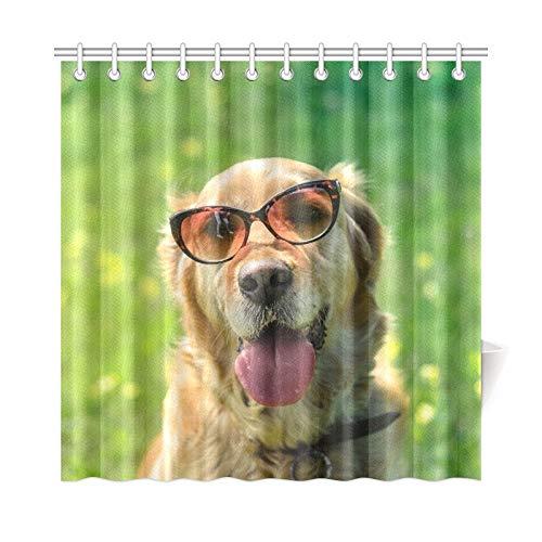 JOCHUAN Wohnkultur Bad Vorhang Golden Retriever Hund Sonnenbrille Polyester Stoff Wasserdicht Duschvorhang Für Badezimmer, 72X72 Zoll Duschvorhang Haken Enthalten