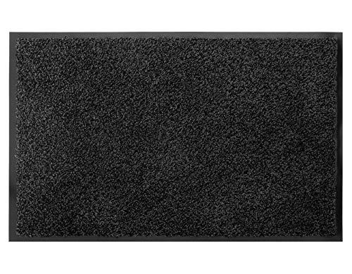Schmutzfangmatte Fußmatte FLEXI – Schwarz/Graphit, 60 x 90 cm, Waschbare, Rutschfeste, Sauberlauf Matte, Eingangsmatte Haustür Innen & Außen, Türvorleger 100% Baumwolle