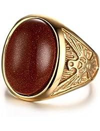 Hermosa Atractivo Acero Inoxidable Piedras Preciosas Artificiales Aves Anillo Chapado En Oro Mujer Hombre