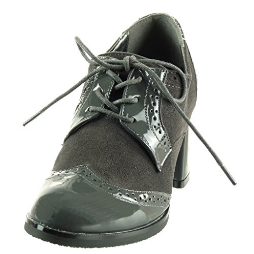 Angkorly - Scarpa Da Donna Derby Scarpa - Bi-materiale - Vernice - Tacco Alto Con Blocco Traforato E Tacco 7,5 Cm Grigio