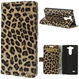 Handytasche Business Case Cover LG G3 mini / D725 - STAND BOOK Etui Flip Leopard