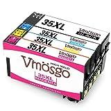 Vmosgo 35XL Ersatz für Epson 35 35XL Druckerpatronen Kompatibel mit Epson Workforce Pro WF-4720DWF WF-4725DWF WF-4730DWF WF-4730DTWF WF-4740DWF WF-4740DTWF 4er-Pack(1Schwarz, 1Cyan, 1Magenta, 1Gelb)