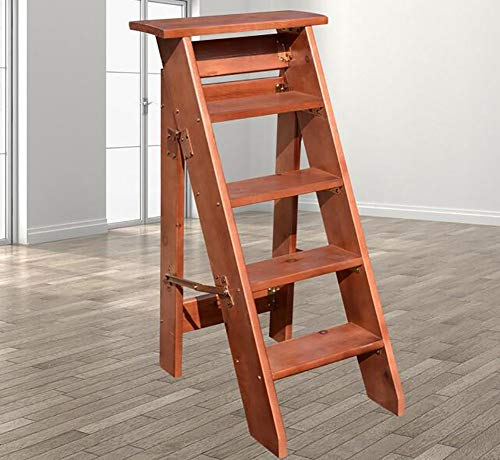 Step STOOLS Home 5-Stufen-Haushaltsleiter Solide Klappbare Holzleiter-Verstärkung Fünfstufige Leiter Kleine Leiter Dachboden-Leiter (Color : C)