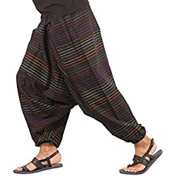 THS Mens Womens Boho Hippie Cotton Handmade Sarouel Baggy Harem Pants - Stripes Design