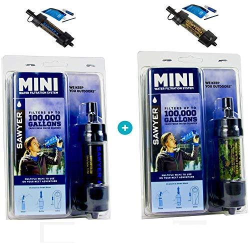 Original Sawyer Mini PointONE Wasserfilter Outdoor Camping Trekking Wasserfilter Wasseraufbereitung (2-er Set Schwarz & Camo)