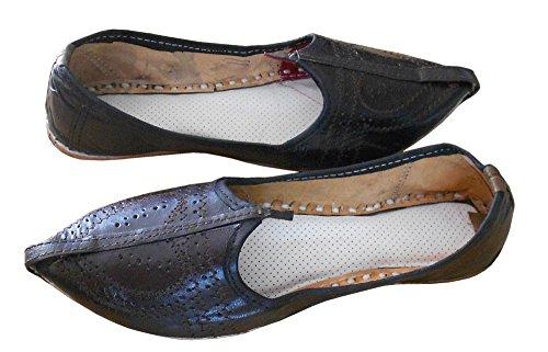 kalra Creations Veste en cuir traditionnel ethnique mojari Marron
