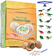 ADS Ultimate 12 Dinosaur Eggs Science Kit-Dig Up Dino Fossils and Assemble Skeleton Set! - Each Includes 1 Pie
