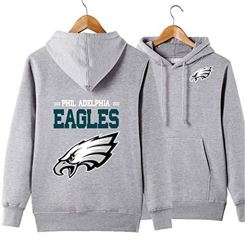 SZRXKJ Männer Langarm Mit Kapuze Buchstaben Druck Philadelphia Eagle Football Team Einfarbig Pullover Hoodies(L,grau) Eagle Herren Hoodie