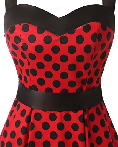 Dresstells Neckholder Rockabilly 50er Vintage Retro Kleid Petticoat Faltenrock Red Black Dot