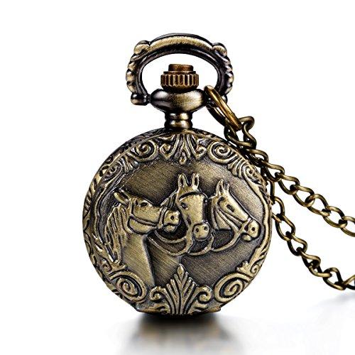 JewelryWe Steampunk Damen Herren Taschenuhr DREI Pferden Design auf Deckel Uhranhänger Quartz Kettenuhr Uhr Halskette