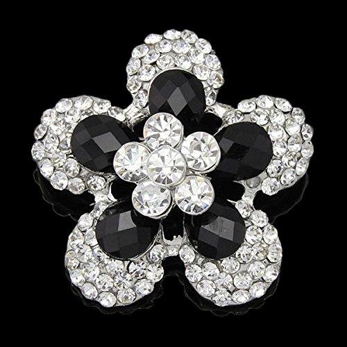Lady spilla pin placcato platino colore fiore stella regalo con resina nera e cristalli tinta unita da sposa - Spilla Stella Pin