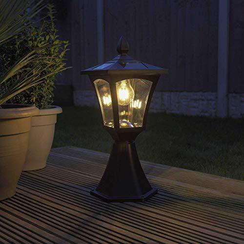 Festive Lights – Lámpara de filamento LED alimentada por energía solar – Iluminación de seguridad de aluminio para exteriores, clásico, Base Mount