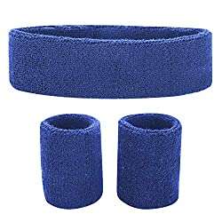 Fussox Sweatband Set Headband Sport Wrist and Head Sweatband Cotton Sweatbands (Blue)