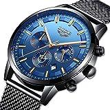 LIGE Relojes para Hombre Deportivos Cronógrafo Impermeable Relojes de Malla de Acero Inoxidable para Hombres Vestido de Negocios con Fase Lunar Reloj de Pulsera de Cuarzo analógico