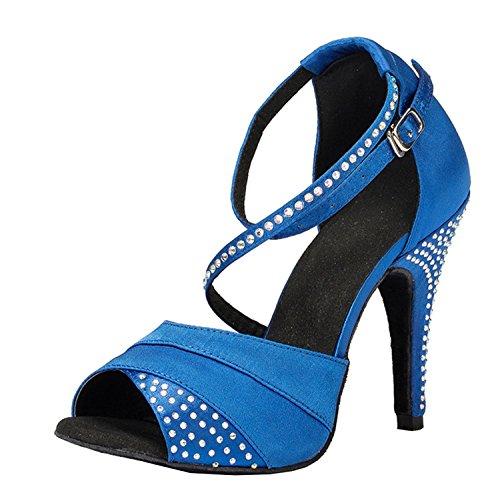 Minitoo–th066tacco a spillo raso scarpe da ballo partito di sera matrimonio sandali, blue, 38,5 eu