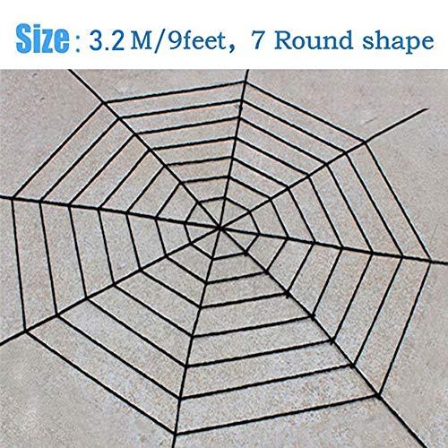 Bolange Halloween Horror dekorative Spinnennetz Dekoration, 7 Kreise 3,2 Meter Pullover Riesen Gaze Halloween Requisiten Cosplay (schwarz) -